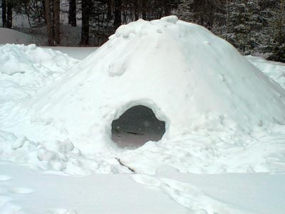 A fully built quinzhee shelter