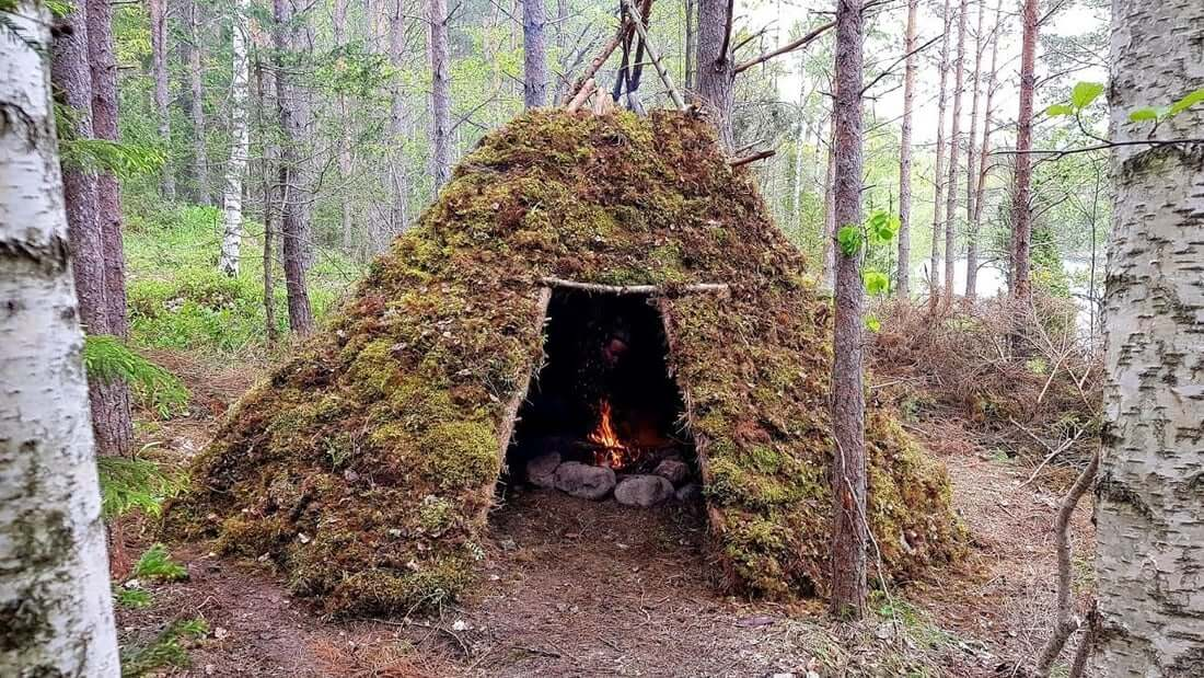 A teepee long term survival shelter