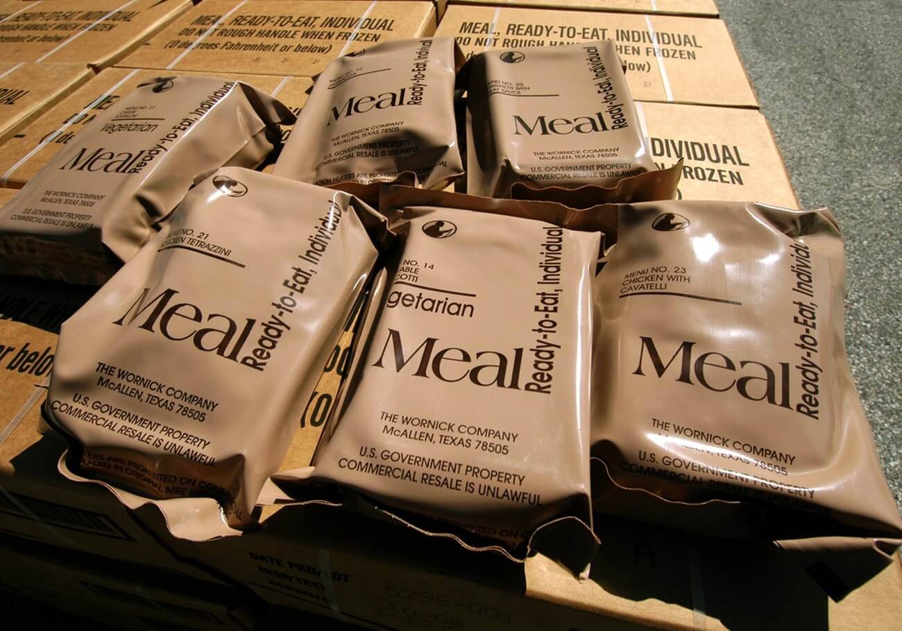 A group of the best MRE meals on top of their original packaging