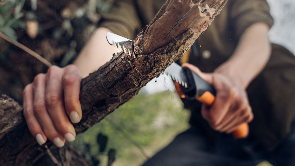 A woman using one of the best survival saws